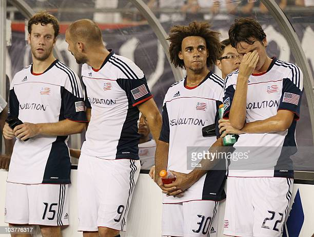 Roberto Linck Kevin AlstonIlija Stolica and Zack Schilawski of the New England Revolution react to the loss of the SuperLiga 2010 championship game...