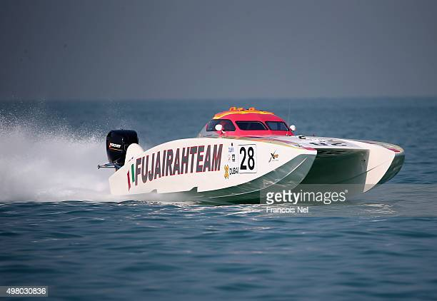Roberto Lo Piano and Francesco Calo of Fujairah race for Pole Position during day two of the Dubai Grand Prix the Fifth round of the UIM XCAT World...