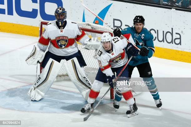 Roberto Luongo and Mark Pysyk of the Florida Panthers defend the net against Joe Pavelski of the San Jose Sharks at SAP Center at San Jose on...