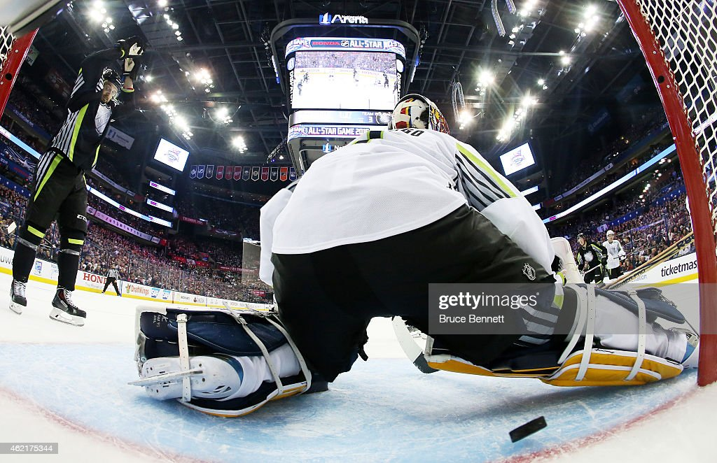 Roberto Luongo of the Florida Panthers and Team Toews gives up a goal in the first period against Team Foligno during the 2015 Honda NHL AllStar Game...