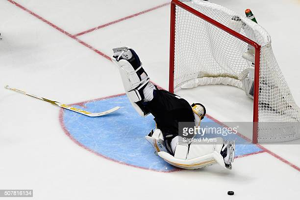 Roberto Luongo of the Florida Panthers defends a shot during the 2016 Honda NHL AllStar Final Game between the Eastern Conference and the Western...