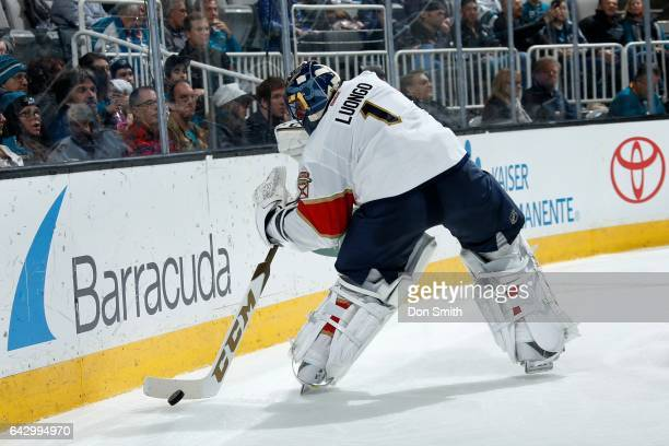 Roberto Luongo of the Florida Panthers handles the puck behind the net during a NHL game against the San Jose Sharks at SAP Center at San Jose on...