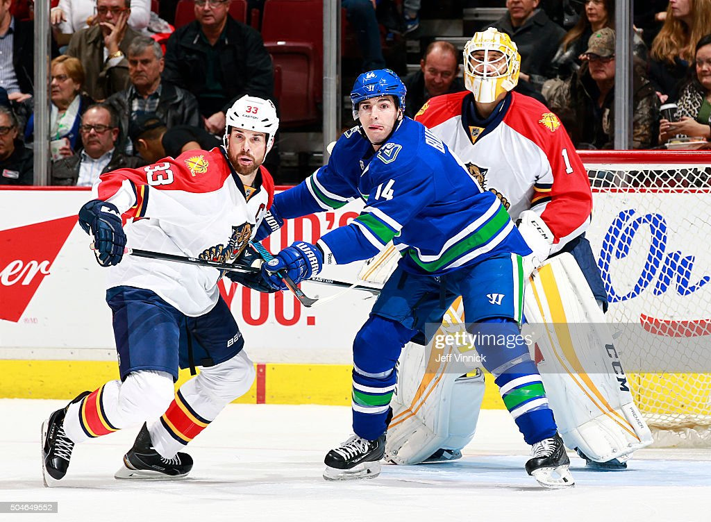 Roberto Luongo #1 of the Florida Panthers looks on as Alexandre Burrows #14 of the Vancouver Canucks checks Willie Mitchell #33 of the Florida Panthers during their NHL game at Rogers Arena January 11, 2016 in Vancouver, British Columbia, Canada. Vancouver won 3-2.