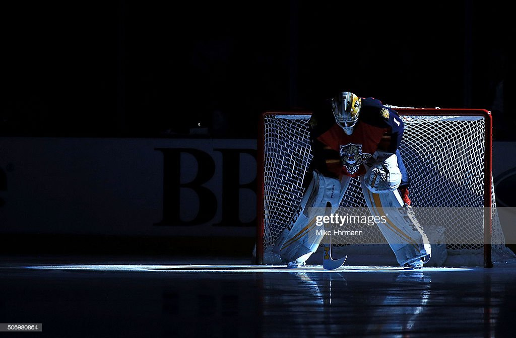 <a gi-track='captionPersonalityLinkClicked' href=/galleries/search?phrase=Roberto+Luongo&family=editorial&specificpeople=202638 ng-click='$event.stopPropagation()'>Roberto Luongo</a> #1 of the Florida Panthers looks on during a game against the Toronto Maple Leafs at BB&T Center on January 26, 2016 in Sunrise, Florida.