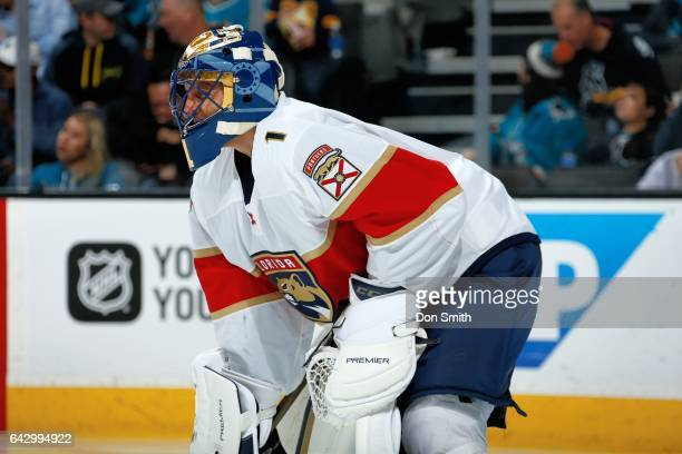 Roberto Luongo of the Florida Panthers looks on during a NHL game against the San Jose Sharks at SAP Center at San Jose on February 15 2017 in San...