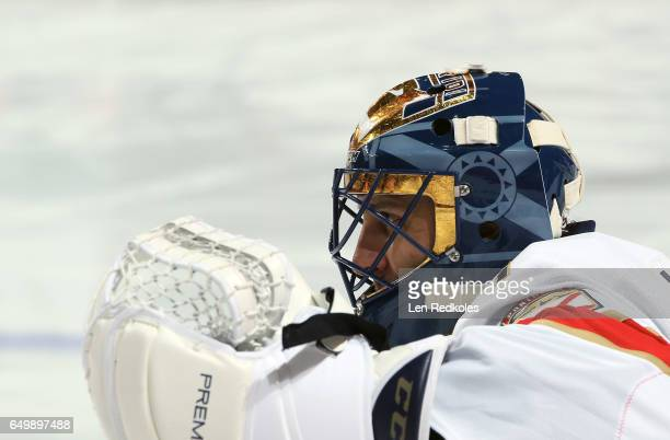 Roberto Luongo of the Florida Panthers looks on during warmups prior to his game against the Philadelphia Flyers on March 2 2017 at the Wells Fargo...