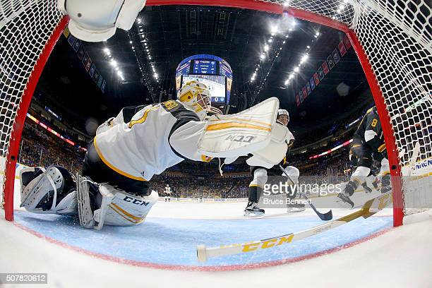 Roberto Luongo of the Florida Panthers makes a save during the 2016 Honda NHL AllStar Final Game between the Eastern Conference and the Western...