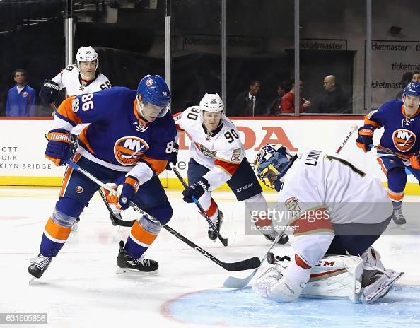 Roberto Luongo of the Florida Panthers makes the second period save on Nikolay Kulemin of the New York Islanders at the Barclays Center on January 11...