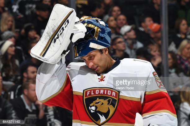 Roberto Luongo of the Florida Panthers replaces his helmet during the game against the Los Angeles Kings on February 18 2017 at Staples Center in Los...
