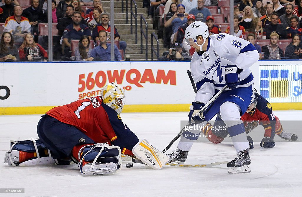 <a gi-track='captionPersonalityLinkClicked' href=/galleries/search?phrase=Roberto+Luongo&family=editorial&specificpeople=202638 ng-click='$event.stopPropagation()'>Roberto Luongo</a> #1 of the Florida Panthers stops a shot from <a gi-track='captionPersonalityLinkClicked' href=/galleries/search?phrase=Anton+Stralman&family=editorial&specificpeople=2271901 ng-click='$event.stopPropagation()'>Anton Stralman</a> #6 of the Tampa Bay Lightning during a game at BB&T Center on November 16, 2015 in Sunrise, Florida.
