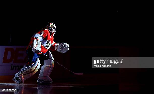 Roberto Luongo of the Florida Panthers takes the ice during a game against the Tampa Bay Lightning at BBT Center on November 7 2016 in Sunrise Florida
