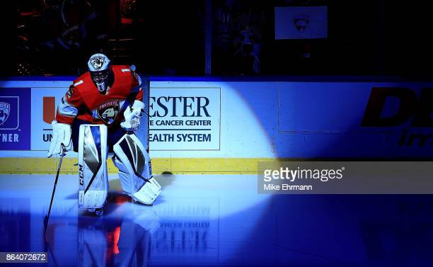 Roberto Luongo of the Florida Panthers warms up during a game against the Pittsburgh Penguins at BBT Center on October 20 2017 in Sunrise Florida