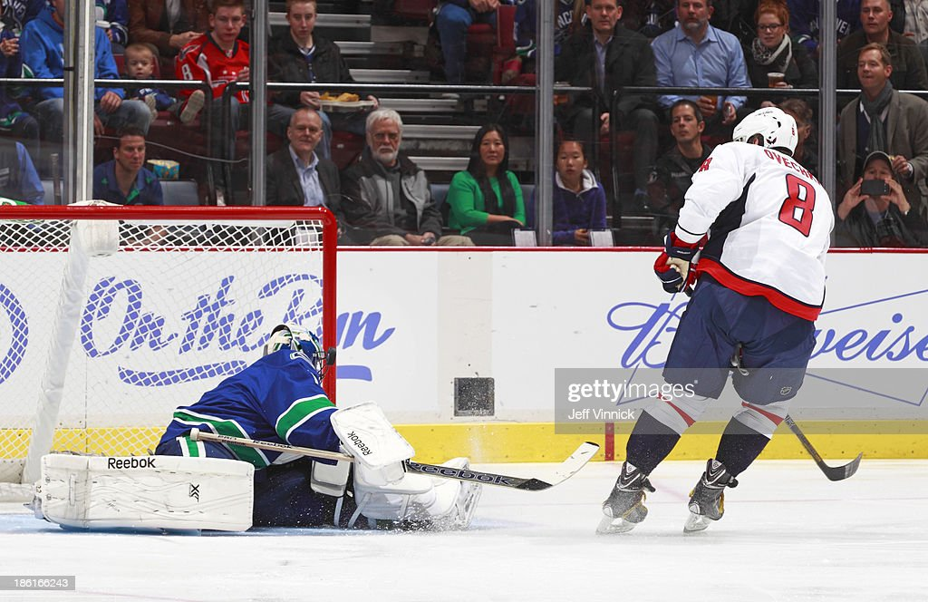 <a gi-track='captionPersonalityLinkClicked' href=/galleries/search?phrase=Roberto+Luongo&family=editorial&specificpeople=202638 ng-click='$event.stopPropagation()'>Roberto Luongo</a> #1 of the Vancouver Canucks looks on as Alex Ovechkin #8 of the Washington Capitals hits the post on a penalty shot during their NHL game at Rogers Arena on October 28, 2013 in Vancouver, British Columbia, Canada.
