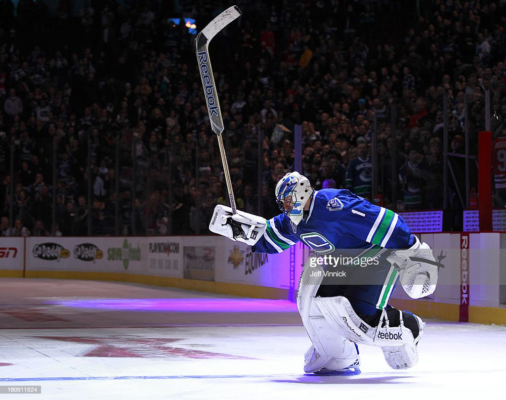 Roberto Luongo #1 of the Vancouver Canucks skates out as first star after their NHL win over the Chicago Blackhawks at Rogers Arena February 1, 2013 in Vancouver, British Columbia, Canada. Vancouver won 2-1 in a shootout.