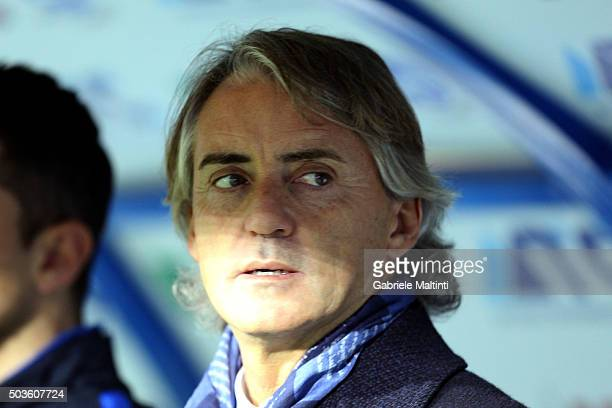 Roberto Mancini head coach of FC Internazionale Milano looks on during the Serie A match between Empoli FC and FC Internazionale Milano at Stadio...