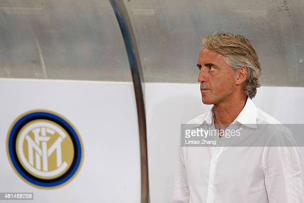 Roberto Mancini head coach of Inter Milan looks on during during the international friendly match between FC Bayern Muenchen and Inter Milan of the...