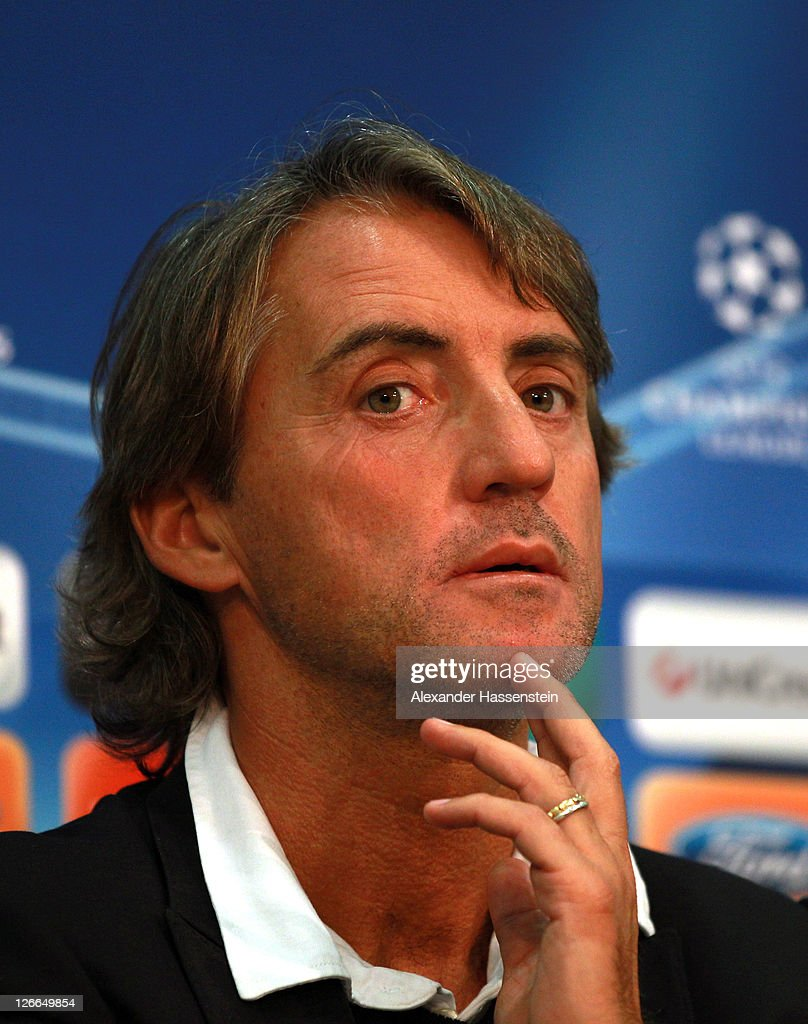 Roberto Mancini, head coach of Manchester City looks on during a press conference ahead of the UEFA Champions League group A first leg match against Bayern Muenchen at Allianz Arena on September 26, 2011 in Munich, Germany.