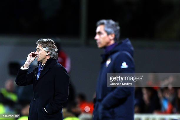 Roberto Mancini manager of FC Internazionale shouts instructions to his players during the Serie A match between ACF Fiorentina and FC Internazionale...