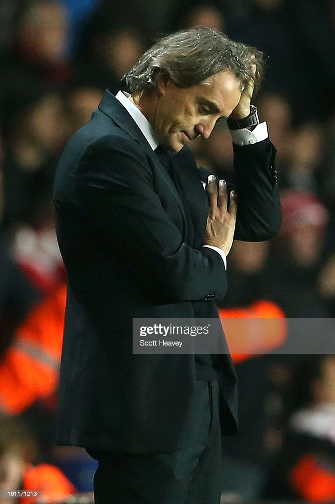 <a gi-track='captionPersonalityLinkClicked' href=/galleries/search?phrase=Roberto+Mancini&family=editorial&specificpeople=234429 ng-click='$event.stopPropagation()'>Roberto Mancini</a>, manager of Manchester City reacts during the Barclays Premier League match between Southampton and Manchester City at St Mary's Stadium on February 9, 2013 in Southampton, England. Alternate crop of #161169396