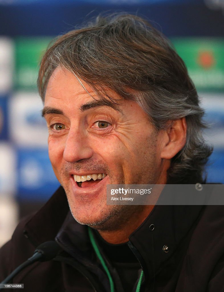 Roberto Mancini of Manchester City faces the media during a press conference at Carrington Training Ground on November 20, 2012 in Manchester, England.
