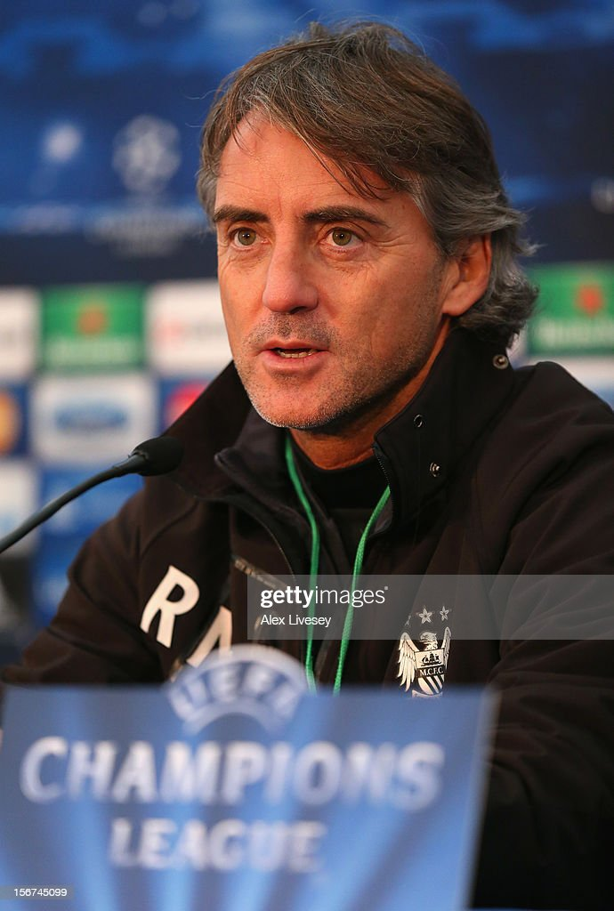 <a gi-track='captionPersonalityLinkClicked' href=/galleries/search?phrase=Roberto+Mancini&family=editorial&specificpeople=234429 ng-click='$event.stopPropagation()'>Roberto Mancini</a> of Manchester City faces the media during a press conference at Carrington Training Ground on November 20, 2012 in Manchester, England.