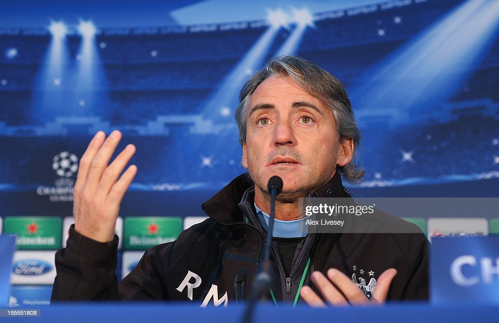 Roberto Mancini the manager of Manchester City faces the media during a press conference at the Carrington Training Ground on November 5, 2012 in Manchester, England.