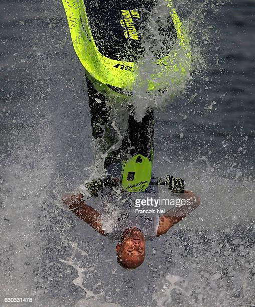 Roberto Mariani of Italy practice ahead of the the Aquabike Class Pro Circuit World Championships Grand Prix of Sharjah at Khalid Lagoon on December...