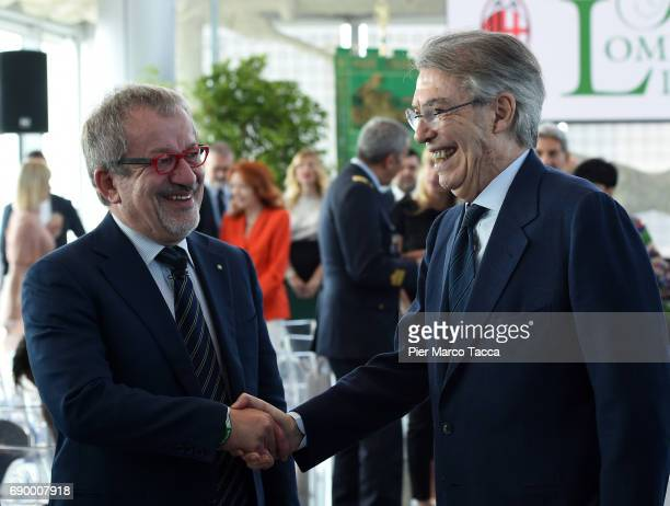 Roberto Maroni Governor of Lombardia Region and Massimo Moratti attend Rosa Camuna awards at Palazzo Lombardia on May 30 2017 in Milan Italy