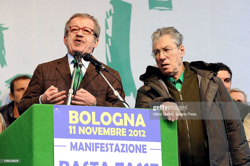 <a gi-track='captionPersonalityLinkClicked' href=/galleries/search?phrase=Roberto+Maroni&family=editorial&specificpeople=665299 ng-click='$event.stopPropagation()'>Roberto Maroni</a> (L), national secretary of Lega Nord political party, delivers his speechbeide <a gi-track='captionPersonalityLinkClicked' href=/galleries/search?phrase=Umberto+Bossi&family=editorial&specificpeople=613296 ng-click='$event.stopPropagation()'>Umberto Bossi</a> (R), leader of Lega Nord, during the demonstration of protest against the Italian Government on November 11, 2012 in Bologna, Italy.