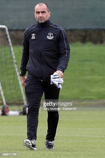 Roberto Martinez during the Everton training session at Finch Farm on November 26 2015 in Halewood England
