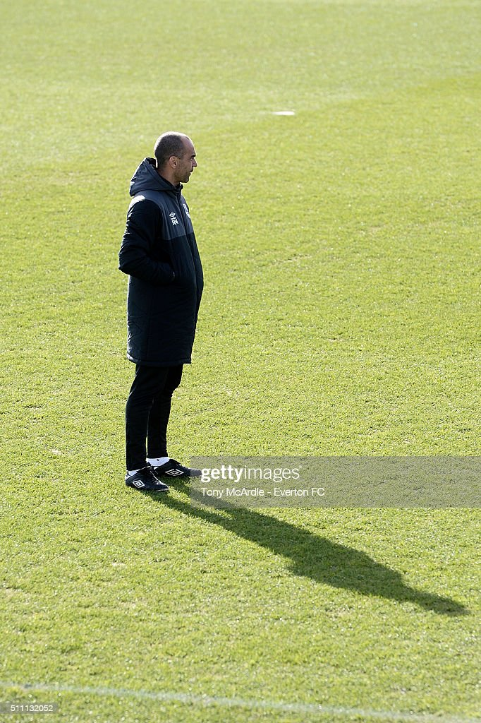 Roberto Martinez during the Everton training session at Finch Farm on February 18, 2016 in Halewood, England.