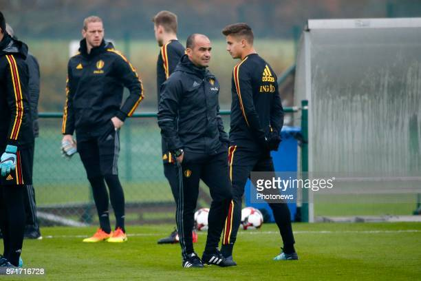 Roberto Martinez head coach of Belgian Team and Leander Dendoncker midfielder of Belgium during the press conference and training session of the Red...