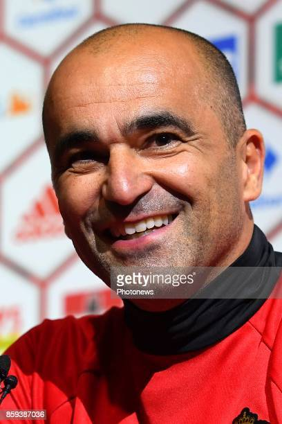 Roberto Martinez head coach of Belgium talks to the press during press conference prior to the International Qualification Match before the FIFA...