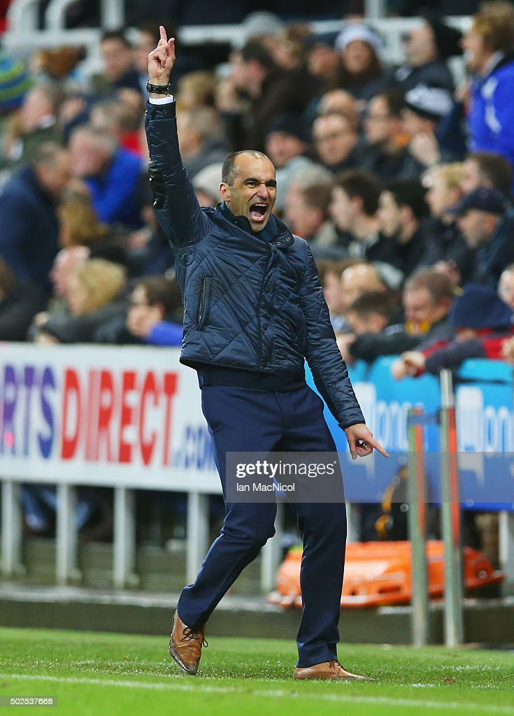 Roberto Martinez manager of Everton celebrates as Tom Cleverley (not pictured) scores their first goal during the Barclays Premier League match between Newcastle United and Everton at St James' Park on December 26, 2015 in Newcastle upon Tyne, England.