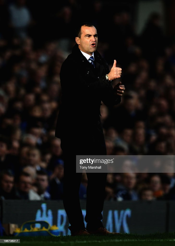 Roberto Martinez, manager of Everton on the touch line during the Barclays Premier League match between Everton and Tottenham Hotspur at Goodison Park on November 3, 2013 in Liverpool, England.
