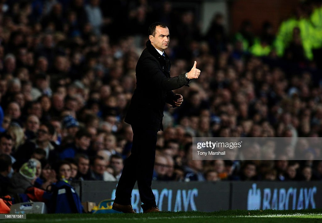 Roberto Martinez, manager of Everton on the touchline during the Barclays Premier League match between Everton and Tottenham Hotspur at Goodison Park on November 3, 2013 in Liverpool, England.