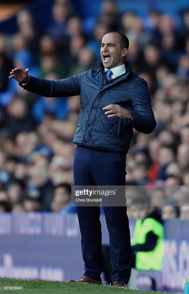 Roberto Martinez, manager of Everton reacts during the Barclays Premier League match between Everton and Southampton at Goodison Park on April 16, 2016 in Liverpool, England.