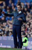 Roberto Martinez manager of Everton reacts during the Barclays Premier League match between Everton and Southampton at Goodison Park on April 16 2016...