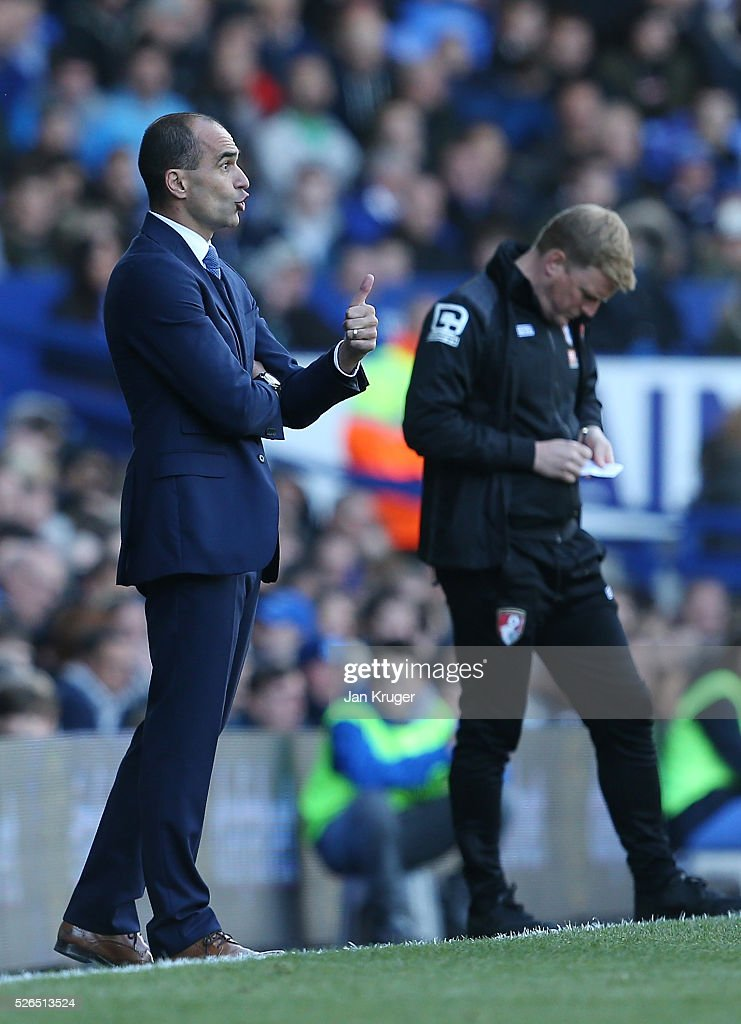 Roberto Martinez Manager of Everton reacts during the Barclays Premier League match between Everton and A.F.C. Bournemouth at Goodison Park on April 30, 2016 in Liverpool, England.