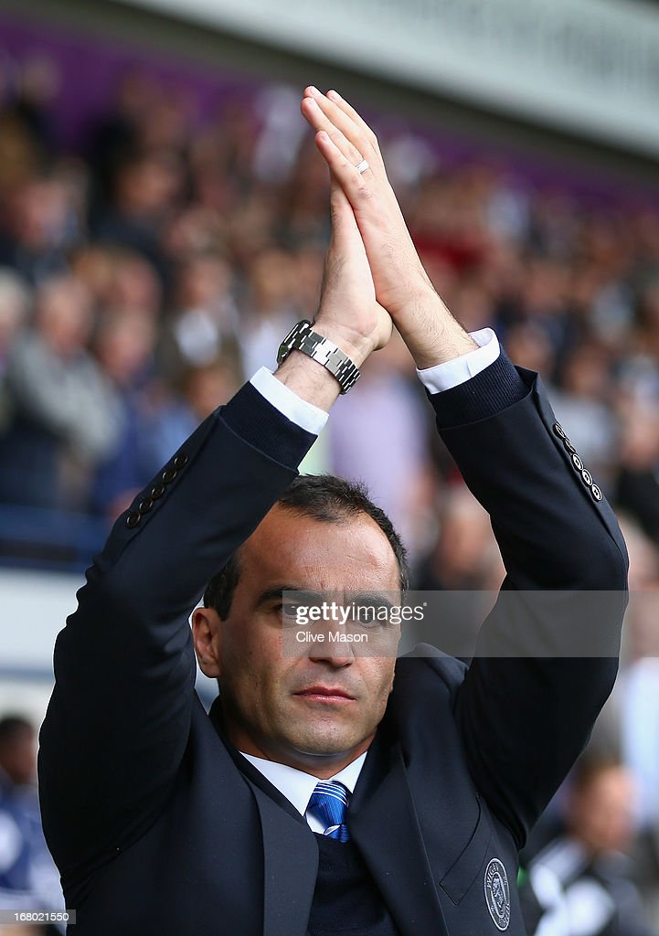 Roberto Martinez of Wigan Athletic applauds the crowd before the Barclays Premier League match between West Bromwich Albion and Wigan Athletic at The Hawthorns on May 4, 2013 in West Bromwich, England.