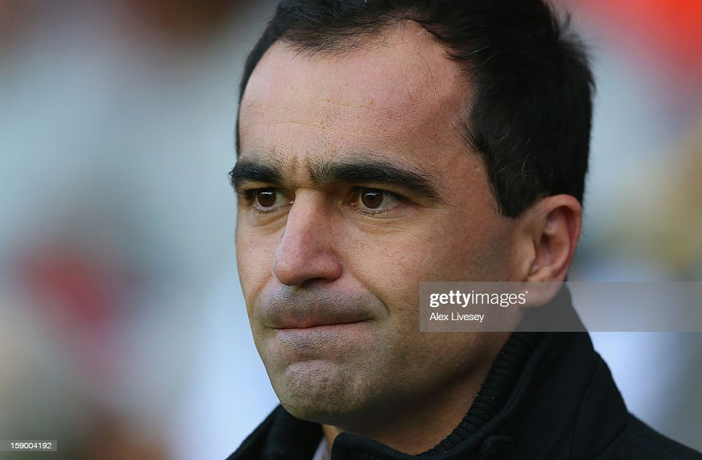 Roberto Martinez the manager of Wigan Athletic looks on during the Budweiser FA Cup Third Round match between Wigan Athletic and AFC Bournemouth at DW Stadium on January 5, 2013 in Wigan, England.