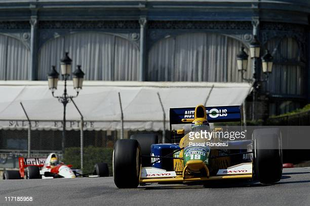 Roberto Moreno drives the Camel Benetton Ford B191 Ford HB 35 V8 ahead of Ayrton Senna during the Grand Prix of Monaco on 12th May 1991 on the...