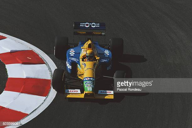 Roberto Moreno of Brazil drives the Camel Benetton Ford Benetton B190B Ford V8 during practice for the French Grand Prix on 6 July 1991 at the...