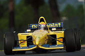 Roberto Moreno of Brazil drives the Parmalat Forti Ford Forti FG01 Ford V8 during practice the San Marino Grand Prix on 29 April 1995 at the...