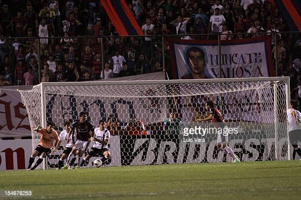 Roberto Nanni of Cerro celebrates a scored goal against Colon during the match between Cerro Porteño v Colon as part of the Bridgestone Sudamericana...