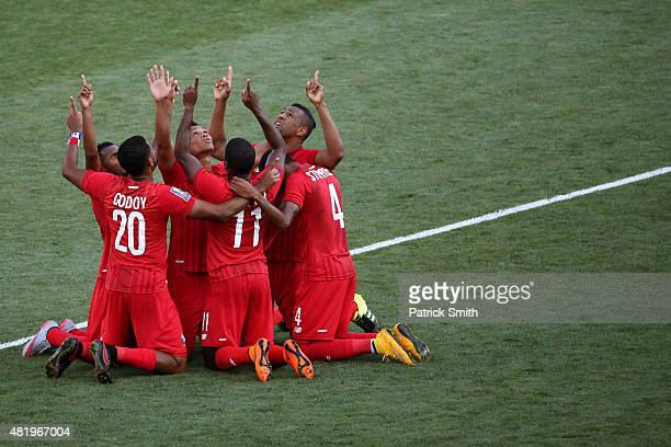 Roberto Nurse of Panama celebrates with teammates after scoring a goal against the United States in the second half during the CONCACAF Gold Cup...