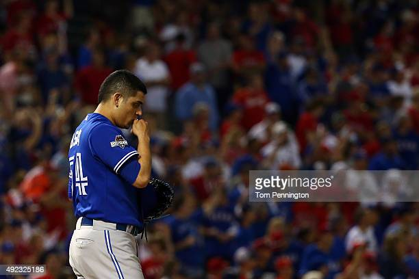 Roberto Osuna of the Toronto Blue Jays celebrates after defeating the Texas Rangers in game three of the American League Division Series on October...