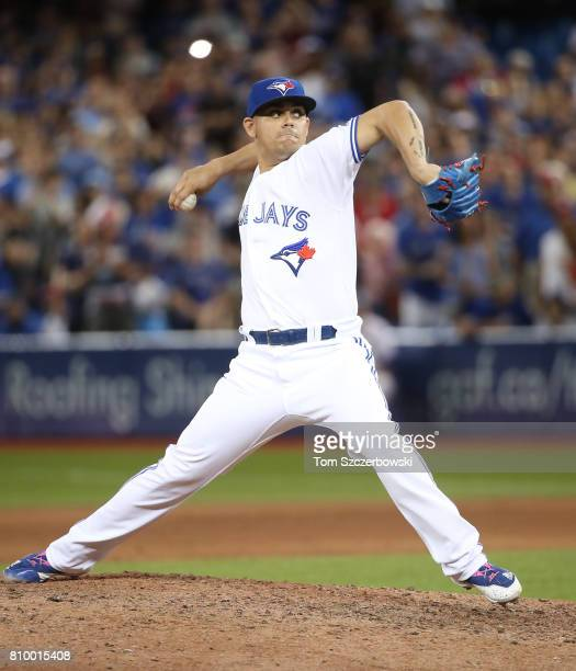 Roberto Osuna of the Toronto Blue Jays delivers a pitch in the ninth inning during MLB game action against the Houston Astros at Rogers Centre on...