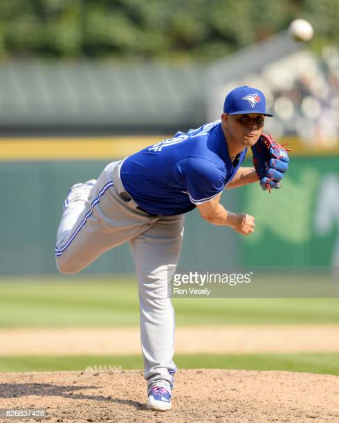 Roberto Osuna of the Toronto Blue Jays pitches against the Chicago White Sox on August 2 2017 at Guaranteed Rate Field in Chicago Illinois