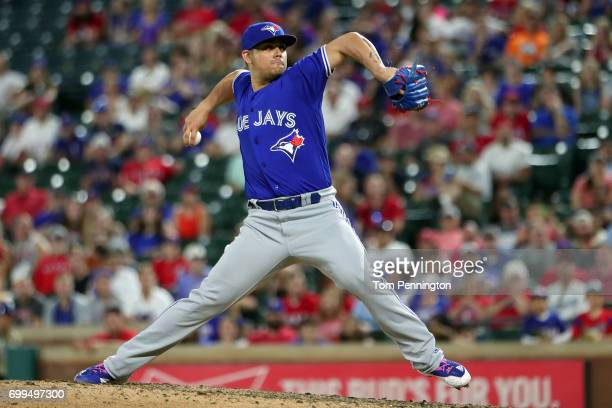 Roberto Osuna of the Toronto Blue Jays pitches against the Texas Rangers in the bottom of the ninth inning at Globe Life Park in Arlington on June 21...